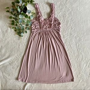 Dusty Pink dress with floral neckline